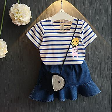 ieftine Haine de Fete-Copii / Copil Fete Activ Dungi Manșon scurt Bumbac / Spandex Set Îmbrăcăminte Albastru piscină