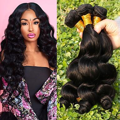 4 pakettia Brasilialainen Löysät aaltoilevat Remy-hius Hiukset kutoo Bundle Hair Yksi pakkaus ratkaisu 8-28inch Luonnollinen väri Hiukset kutoo Vesiputous Muodikas malli Pehmeä Hiukset Extensions