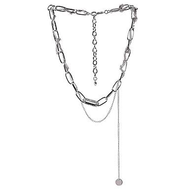 billige Mote Halskjede-Dame lagdelte Hals Multi Layer Enkel Chrome Sølv 61 cm Halskjeder Smykker 1pc Til Gate