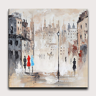 Painettu Pingoitetut kanvasprintit - Abstrakti Maisema Moderni Art Prints