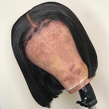 Aidot hiukset Lace Front Peruukki Bob-leikkaus Lyhyt Bob Sivuosa tyyli Brasilialainen Silkkinen suora Musta Peruukki 130% Hiusten tiheys ja vauvan hiukset Luonnollinen hiusviiva Tummille naisille