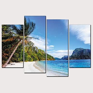 abordables Toiles-Imprimé Impressions sur toile roulées - Thème de plage Céleste Classique Moderne Quatre Panneaux Art Prints