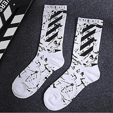 abordables Accessoires pour Chaussures-10 paires Homme Chaussettes Standard Rayé Déodorant Coton EU40-EU46