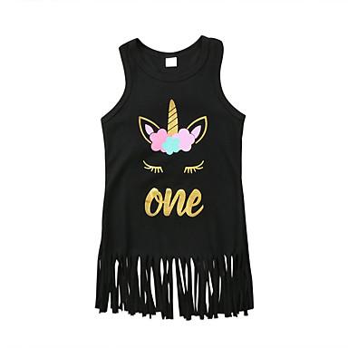 baratos Vestidos para Meninas-Infantil Bébé Para Meninas Desenho Animado Letra Vestido Preto