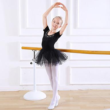 Dansetøj til børn / Ballet Kjoler / Trikoter Pige Træning / Ydeevne Bomuld / Blondelukning Spredte Krystaller Stil / Blonde / Kombination Kortærmet Naturlig Kjole