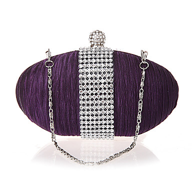 cheap Kids' Bags-Women's / Girls' Crystals Evening Bag Rhinestone Crystal Evening Bags Silk Solid Color Purple / Fall & Winter
