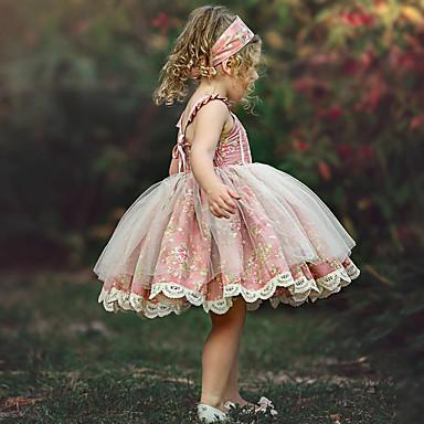 povoljno Beba & Djeca-Djeca Dijete koje je tek prohodalo Djevojčice Cvjetni print Haljina Blushing Pink