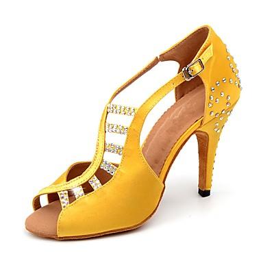 7c0a9494eb24 Žene Cipele za latino plesove Saten Štikle Štras   Kopča Tanka visoka peta  Moguće personalizirati Plesne cipele Bijela