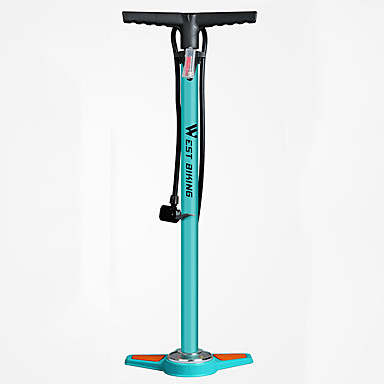 billige Sykkeltilbehør-WEST BIKING® Bike Floor Pump med måler Bærbar Lettvekt Holdbar Høytrykk Presis oppblåsning Til Vei Sykkel Fjellsykkel Sykling Aluminiumslegering Blå