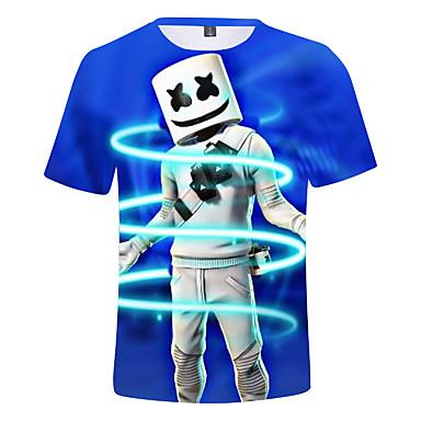 billige Overdele til drenge-Børn Drenge Aktiv Trykt mønster Kortærmet Bomuld T-shirt Marineblå