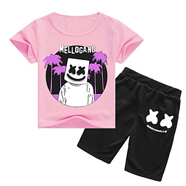 cheap Boys' Clothing Sets-Kids Boys' Active Cartoon Short Sleeve Cotton / Spandex Clothing Set Purple