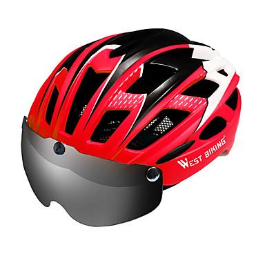 abordables Casques de Cyclisme-WEST BIKING® Adulte Casque de Vélo avec Lunettes de Protection 27 Aération CE Résistant aux impacts Intégralement moulé Réglable EPS PC Des sports Vélo de Route Vélo tout terrain / VTT Activités