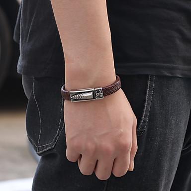 abordables Bracelet-Bracelets Vintage Bracelets en cuir Bracelet Homme Femme Classique Acier inoxydable Cuir Bullet Artistique simple Rétro Vintage Décontracté / Sport Mode Bracelet Bijoux Marron Bleu Couleur blanche AB