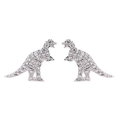 voordelige Dames Sieraden-Dames Kristal Oorknopjes 3D Draken Dinosaurus Uniek ontwerp Vintage Cartoon S925 Sterling Zilver oorbellen Sieraden Goud / Zilver Voor Lahja Feestdagen 1 paar