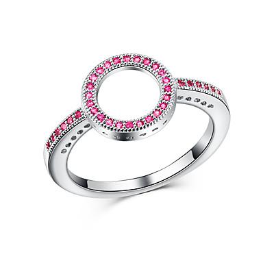 billige Motering-Dame Band Ring / Ring / Micro Pave Ring Kubisk Zirkonium 1pc Lilla / Blå / Rosa Kobber Geometrisk Form Luksus / Unikt design / Europeisk Fest / Gave / Klubb Kostyme smykker