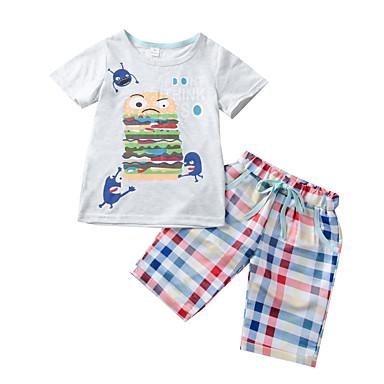 34ac709ba3362 Çocuklar Toddler Genç Erkek Actif Karton Desen Kısa Kollu Normal Pamuklu Kıyafet  Seti Açık Gri