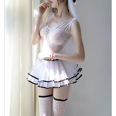 e986b181d أزياء Cosplay نسائي مثير بدلات ملابس نوم مكشكش / مقصوص / شبكة, لون سادة  أسود أحمر XL XXL XXXL