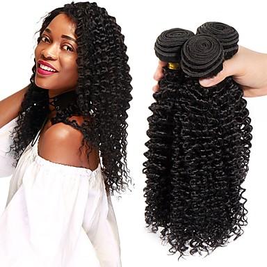baratos Extensões de Cabelo Natural-3 pacotes Cabelo Brasileiro Kinky Curly Cabelo Natural Remy Cabelo Humano Ondulado Cabelo Bundle Extensões de Cabelo Natural 8-28 inch Côr Natural Tramas de cabelo humano Melhor qualidade Nova
