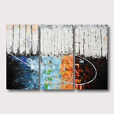 Hang-Painted öljymaalaus Maalattu - Abstrakti Comtemporary Moderni Sisällytä Inner Frame / 3 paneeli / Venytetty kangas
