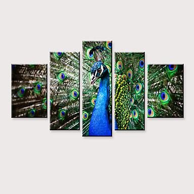 abordables Toiles-Imprimé Impressions sur toile roulées - Animaux Oiseaux Moderne Cinq Panneaux Art Prints