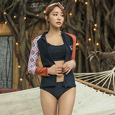 Naisten Rashguard-uimapuku Elastaani Uima-asut Nopea kuivuminen Full Body Etuvetoketju 4-osainen - Uinti Sukellus Patchwork Kesä / Erittäin elastinen