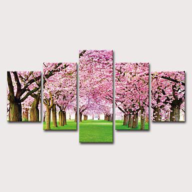billige Trykk-Trykk Strukket Lerret Trykk - Landskap Blomstret / Botanisk Klassisk Moderne Fem Paneler Kunsttrykk
