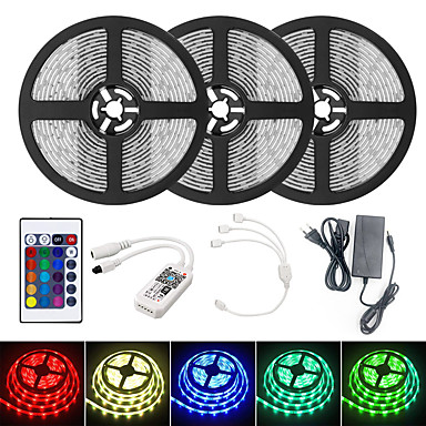 billige LED Strip Lamper-brelong smart wifi smd 5050 lys med rgb 24keys 15m 900led ip65 vanntett dc12v med 5a eu strøm