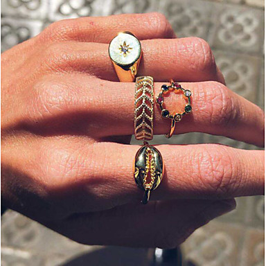 cheap Rings-Women's Classic Ring Ring Set Shell Simple European Trendy Casual / Sporty Fashion Ring Jewelry Gold For Daily Carnival School Street Club 4pcs