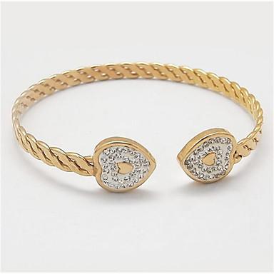 abordables Bracelet-Manchettes Bracelets Femme Classique Zircon Plaqué or Joie Elégant Bracelet Bijoux Dorée Argent Forme Géométrique pour Cadeau Quotidien