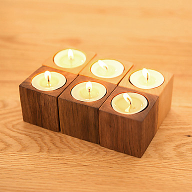 Simple Style Wooden Candle Holders Unsented Candelabra 1pc Holder