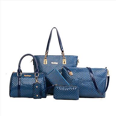 preiswerte Taschen-Damen Reißverschluss / Geprägt Bag Set Beutel Sets Polyester / PU Volltonfarbe 6 Stück Geldbörse Set Gelb / Fuchsia / Braun / Schlangenhaut