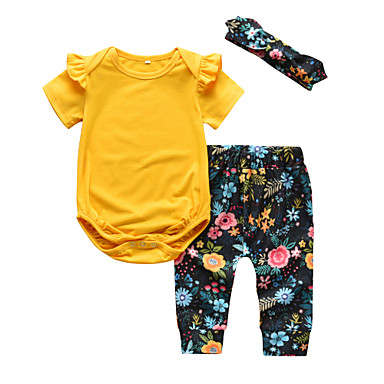 539c5416b Baby Girls' Casual / Active Solid Colored / Floral Ruffle / Print Short  Sleeve Regular Cotton Clothing Set Yellow / Toddler