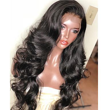 billige Blondeparykker med menneskehår-Ekte hår 6x13 Closure Parykk Bobfrisyre Asymmetrisk frisyre Deep Parting stil Brasiliansk hår Krop Bølge Parykk 150% Hair Tetthet med baby hår Naturlig hårlinje Afroamerikansk parykk Til fargede