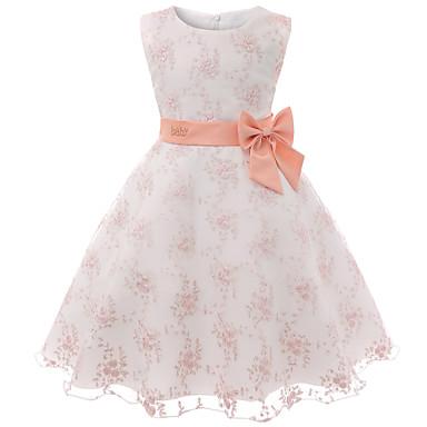 povoljno Novo u ponudi-Djeca Dijete koje je tek prohodalo Djevojčice Osnovni slatko Cvjetni print Mašna Bez rukávů Do koljena Pamuk Haljina Blushing Pink