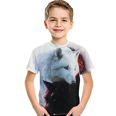 baratos Camisas para Meninos-Infantil Bébé Para Meninos Activo Básico Geométrica Estampado Manga Curta Camiseta Branco