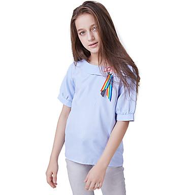 baratos Blusas para Meninas-Infantil Para Meninas Activo Básico Sólido Cordões Manga Curta Blusa Azul