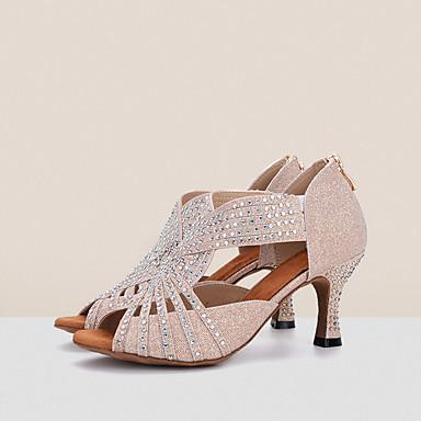 Mulheres Sapatos de Dança Tecido elástico Sapatos de Dança Latina / Sapatos de Salsa Pedrarias / Presilha Sandália / Salto Salto Carretel Rosa claro / Preto / Branco / Branco / Prata / Espetáculo