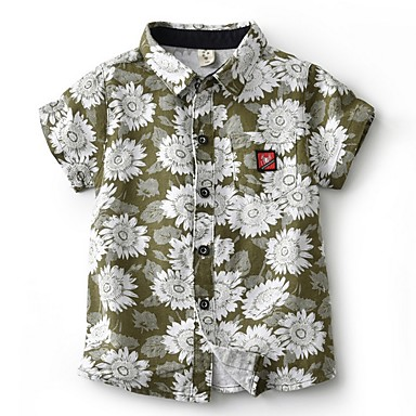 baratos Camisas para Meninos-Infantil Para Meninos Básico Floral Manga Curta Algodão Camisa Marron