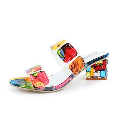 hesapli Kadın Sandaletleri-Kadın's Ayakkabı PU İlkbahar yaz Minimalizm Sandaletler Kalın Topuk Yuvarlak Uçlu Günlük için Gökküşağı