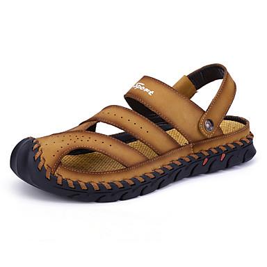 בגדי ריקוד גברים נעלי נוחות עור נאפה Leather אביב קיץ יום יומי סנדלים נושם שחור / חום בהיר / בורדו