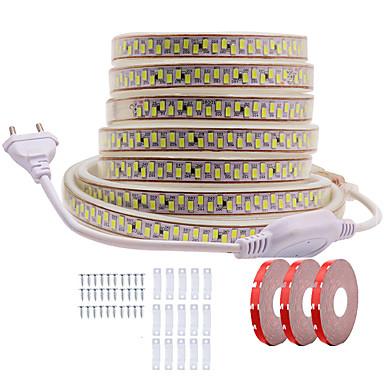 abordables Bandes Lumineuses LED-Kwb 15 m brillant décor conduit bandes de lumière 220v-240v flexible étanche corde lumières 5730 2700leds pour intérieur extérieur ambiant éclairage commercial décoration