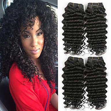 baratos Extensões de Cabelo Natural-6 pacotes Cabelo Brasileiro Onda Profunda 100% Remy Hair Weave Bundles Cabelo Humano Ondulado Extensor Cabelo Bundle 8-28 polegada Côr Natural Tramas de cabelo humano Cascata Macio novo Extensões de