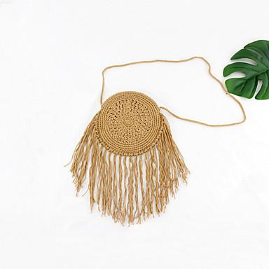 זול שקיות-בגדי ריקוד נשים קש תיק מוצלב על הגוף תיק קש צבע אחיד צהוב / זהב בהיר / חאקי / סתיו חורף