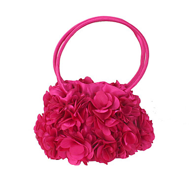 cheap Kids' Bags-Women's / Girls' Flower Evening Bag Silk Solid Color Black / Fuchsia / Fall & Winter