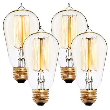 abordables Ampoules électriques-4pcs 40 W E26 / E27 ST58 Blanc Chaud 2300 k Rétro / Intensité Réglable / Décorative Ampoule incandescente Edison Vintage 220-240 V