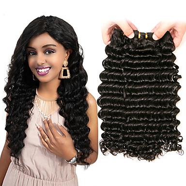baratos Extensões de Cabelo Natural-3 pacotes Cabelo Peruviano Onda Profunda Cabelo Virgem 100% Remy Hair Weave Bundles Peça para Cabeça Cabelo Bundle Extensões de Cabelo Natural 8-28 polegada Côr Natural Tramas de cabelo humano Sem