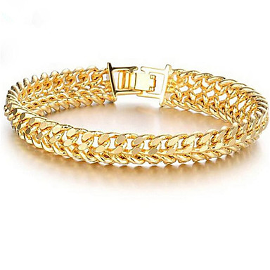 billige Motearmbånd-Herre Dame Kjeder & Lenkearmbånd Lykkelig Stilfull 18 K gull fylt Armbånd Smykker Gull Til Gave Daglig
