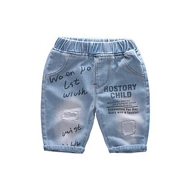 baratos Calças para Meninos-Infantil Para Meninos Activo Básico Sólido Estampado Com Corte Buraco rasgado Algodão Jeans Azul