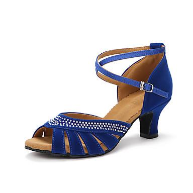 baratos Super Ofertas-Mulheres Náilon Sapatos de Dança Latina Pedrarias Salto Salto Cubano Personalizável Preto / Vermelho / Azul / Espetáculo / Couro