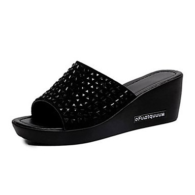 voordelige Damespantoffels & slippers-Dames Imitatieleer Lente zomer Slippers & Flip-Flops Sleehak Zwart